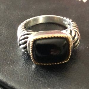 Onyx sterling and gold accent effy ring
